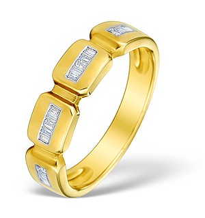 9K Gold Diamond Half Eternity Style Ring - E4016