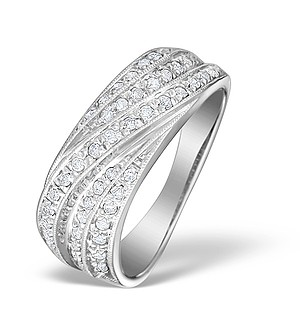 9K White Gold Pave Chunky Diamond Ring - E4136