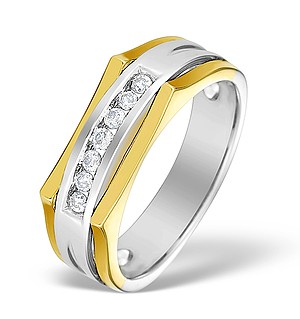 9K Two Tone Diamond Channel Set Ring - E4139