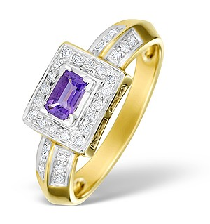 9K Gold Diamond and Amethyst Design Ring - E4146