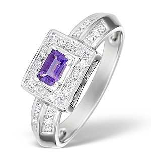 9K White Gold Diamond and Amethyst Design Ring - E4147