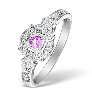 9K White Gold Diamond and Pink Sapphire Solitaire Ring - E4160