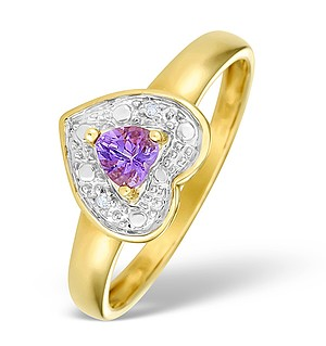 9K Gold Diamond and Amethyst Heart Design Ring - E4175