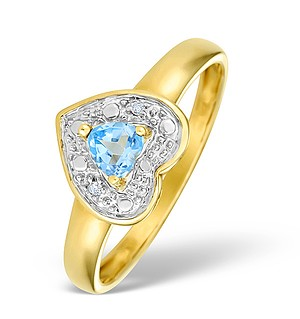 9K Gold Diamond and Blue Topaz Heart Design Ring - E4176