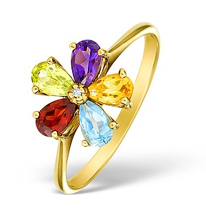 9K Gold Diamond and Multi Stone Flower Ring - E4177
