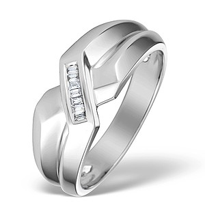 9K White Gold Diamond Baguette Chunky Ring - E4186
