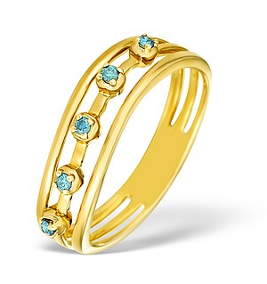 9K Gold Blue Diamond Design Ring - E4187