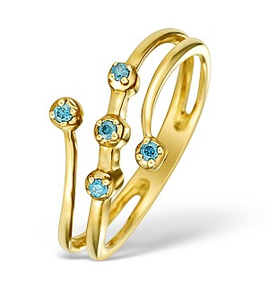9K Gold Blue Diamond Design Ring - E4180