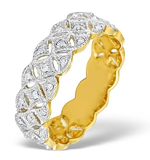 9K Gold Diamond Chunky Full Eternity Ring - E4195