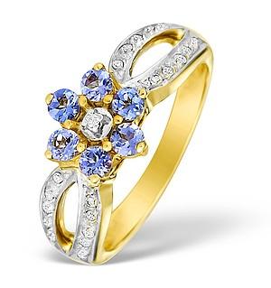 9K Gold Diamond and Tanzanite Design Ring - E4108