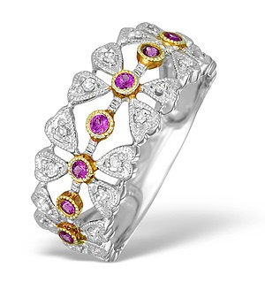 9K White Gold and Pink Sapphire Detail Half Band Ring - E5230
