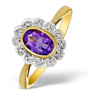 9K Gold Diamond and Amethyst Flower Design Ring - E5254
