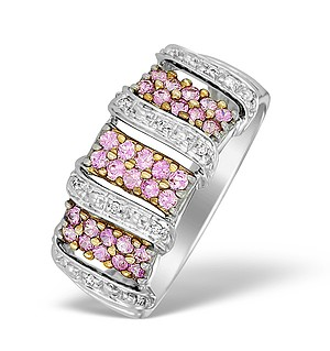 9K White Gold Daimond and Pink Sapphire Pave Design Ring - E5269