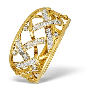 9K Gold Diamond Pave Design Chunky Ring - E5276