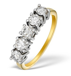 9K Gold Five Stone Diamond Ring - E5202
