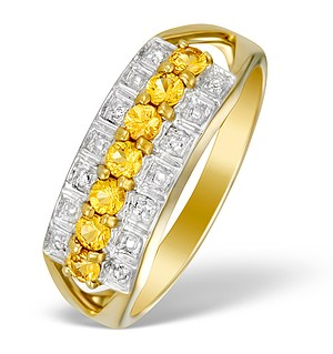 9K Gold Diamond and Yellow Sapphire Half Band Ring - E5355