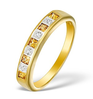 9K Gold Diamond and Yellow Sapphire Half Band Ring - E5309