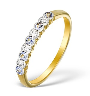 9K Gold Diamond and Tanzanite Half Band Ring - E5424