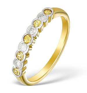 9K Gold Diamond and Yellow Sapphire Half Band Ring - E5426