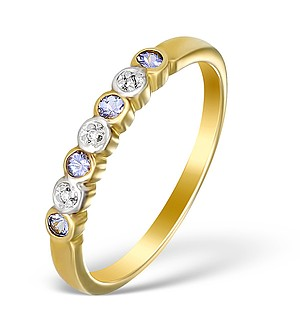 9K Gold Diamond and Tanzanite Half Band Ring - E5455