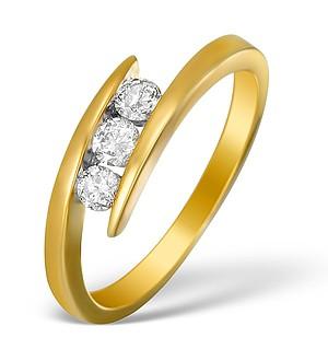 9K Gold Diamond 3 Stone Tension set Ring - E5419