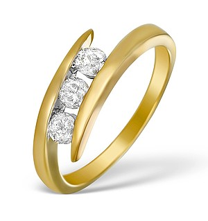 9K Gold Diamond 3 Stone Tension set Ring - E5410