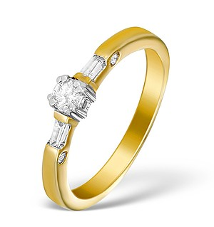 9K Gold Diamond Solitaire Ring with Baguette Detail - E5411