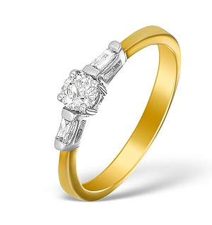 9K Gold Diamond Solitaire Ring with Baguette Detail - E5522