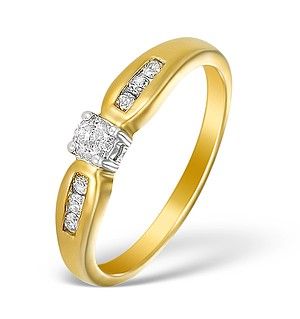 9K Gold Diamond Solitaire Ring with Shoulder Detail - E5523