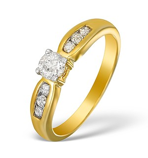 9K Gold Diamond Solitaire Ring with Shoulder Detail - E5524