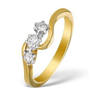 9K Gold Diamond 3 Stone Twist Ring - E5525