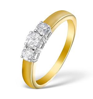 9K Gold Diamond 3 Stone Ring - E5526