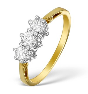 9K Gold Diamond 3 Stone Ring - E5520