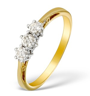 9K Gold Diamond 3 Stone Ring - E5533