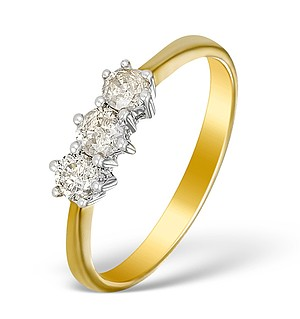 9K Gold Diamond 3 Stone Ring - E5534