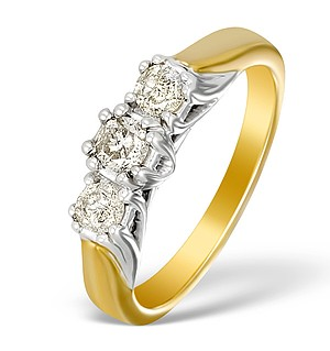 9K Gold Diamond 3 Stone Ring - E5537
