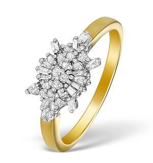9K Gold Diamond Cluster Design Ring - E5538