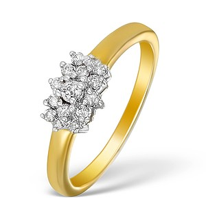 9K Gold Diamond Cluster Design Ring - E5539