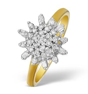9K Gold Diamond Cluster Design Ring - E5530
