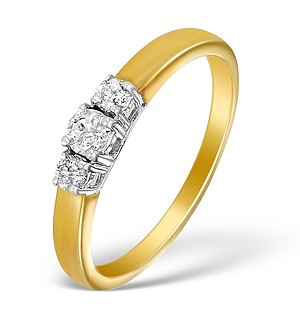 9K Gold Diamond 3 Stone Ring - E5531