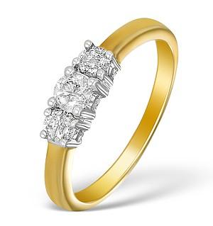 9K Gold Diamond 3 Stone Ring - E5542