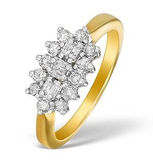 9K Gold Diamond Cluster Design Ring - E5543