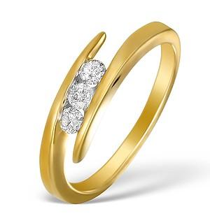 9K Gold Diamond 3 Stone Tension Set Ring - E5544