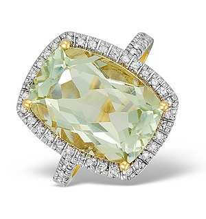 9K Gold Diamond and Peridot Cluster Ring - E5550