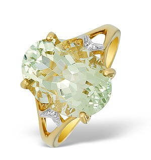 9K Gold Diamond and Green Aqua Ring - E5580