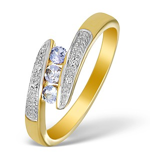 9K Gold Diamond and Tanzanite 3 Stone Ring - E5623