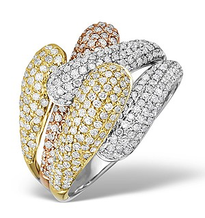 9K Gold 3 Tone Diamond Ring 1.63ct