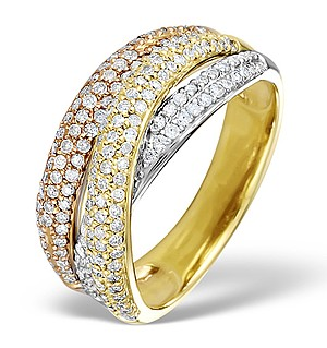 9K Gold 3 Tone Diamond Ring 0.89ct