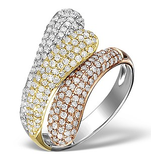 9K Gold 3 Tone Diamond Ring 1.09ct