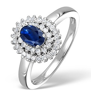9K White Gold Diamond and Sapphire Ring 0.28ct